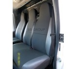 VW Crafter van seat covers anthracite cloth with leatherette trim